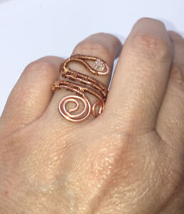Copper  Wire wrap Ladies Adjustable Snake Ring.Free Postage.