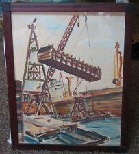 Industrial Harbor Scene-Watercolor-1940's-By Karwoski-Lovely Regionalist Work