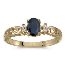 14k Yellow Gold Oval Sapphire And Diamond Filigree Ring