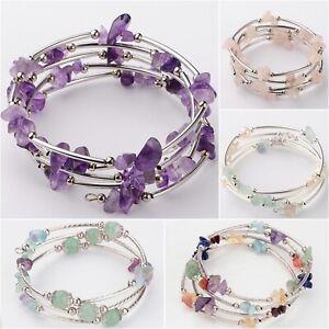 Crystal Gemstone Bracelet Wrap Stone Bead Chip Healing Bangle Reiki Anxiety UK