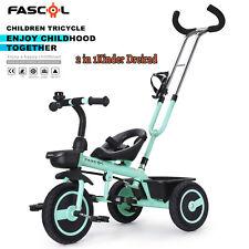 2 in1 Kinder Dreirad mit Schubstange Doppelte Funktion Trike Baby Kinderwagen