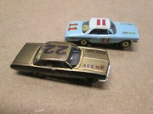MEV HO SLOT CARS ON TJET CHASSIS, LOT OF 2 NED JARRET FIREBALL ROBERTS