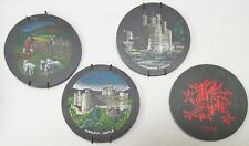 Welsh Dragon Coaster & British Castles 4 Round Slate Coasters or Wall Hangers