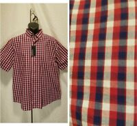 New Roundtree&Yorke Men's Size L Large Button Down Red Plaid Short Sleeve Shirt
