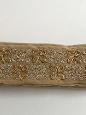 NINE METRES ATTRACTIVE INDIAN BEIGE VALOUR WITH GOLD EMBROIDERY TRIM/LACE