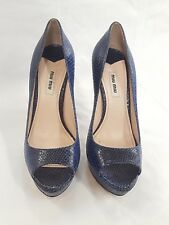 MIU MIU blue Leather Snake Print Skin Open Toe Pumps