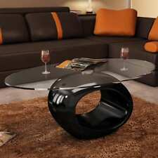 Modern High Gloss Glass Top Coffee Table Black Round Side Dinner Office Home