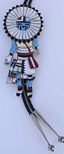 HUGE Zuni Native American Nickel silver gem inlay Sun face Hopi Kachina bolo tie