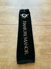Hanbury Manor Golf Club UK Black Triple Folded Embroidered Towel with Metal Clip