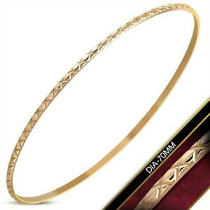 Rose Gold PVD Bangle Bracelet Stainless Surgical Steel 2mm
