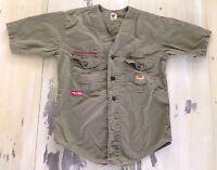 BOY SCOUTS: Vtg Collarless Light Green Khaki Uniform SS Shirt, Boys Lg, Adult XS