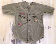 BOY SCOUTS: Vtg Collarless Light Green Khaki Uniform SS Shirt, Boys Medium-Large