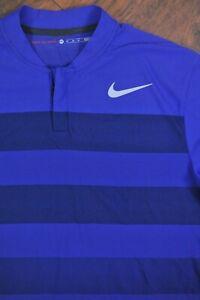 Nike Golf Tiger Woods Zonal Blade Polo Shirt Purple Stripe Men's Medium Tall MT