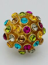 Disco Ball Look Multi Colors Crystal Pave Accents Gold Tone Stretch Ring