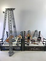 2010 WWF WWE Wrestling Wrestlemania Spring Loaded Ring Lot w/ Accessories