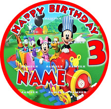 MICKEY MOUSE CLUBHOUSE:ROUND Personalized Edible Cake Topper FREE SHIP Canada