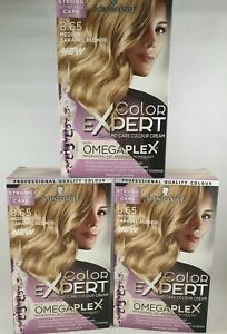 3 x Schwarzkopf Colour Expert Omegaplex Hair Dye, 8.65 Medium Caramel Blonde