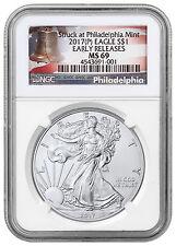 2017-(P) Silver Eagle Struck Philadelphia Mint NGC MS69 ER Liberty Bell SKU47237