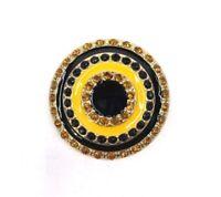 Lindsay Phillips Shoe Snaps Jewelry Team Spirit Rhinestone BLING Black & Gold