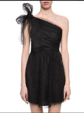 $1175 RED VALENTINO ONE-SHOULDER LACE DRESS,BLACK- NWT SZE IT40(US 2)