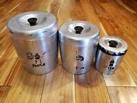 Vintage WEST BEND Aluminum Canister Set of 3 Flour Sugar Tea RARE DECAL USA