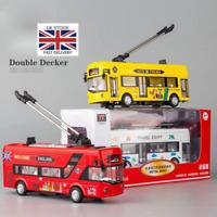 London Single Double Decker Tram City Bus Sound Light Alloy Model Car Child Toys