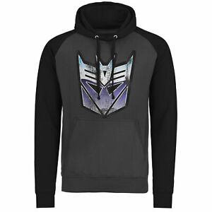 Licensed Transformers Distressed Decepticon Shield Baseball Hoodie S-XXL Slzes