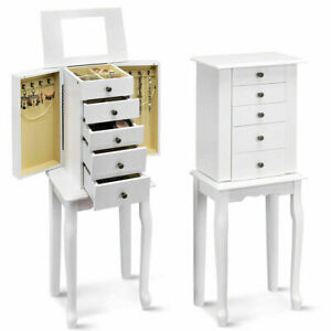 Retro Jewelry Cabinet w/ Mirror Armoire Storage Chest Stand Organizer Gift White