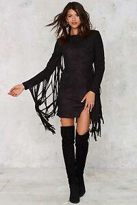 LAVISH ALICE Black Suede Look Fringe Boho Mini Dress. Plus Sizes 18-26 RRP $114