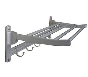 "Bathroom Towel Rack Shelf & Adjustable 5 Hooks Hangers 24"" Wall Mounted Aluminum"