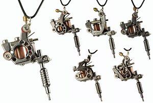 Mini TATTOO Maschine Kette Anhänger Punk Schmuck Gothic Kunst Halskette - 45cm