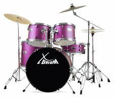 """XDrum Semi 22"""" Komplett Schlagzeug Set Drum Kit Lila + Galgen Becken Ständer"""