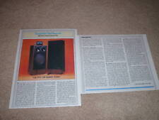 Polk Rta 12B Speaker Review,1983,2 pgs, Full Test, Rare