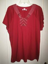 Lovely Brick Red T-Knit Top Embroidery/Studs V-Neck Raglan Sleeves 22/24  2X NWT