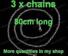 "3 x 30""long 80cm silver tone ROLO CHAINS pendant, mini pocket watch chain 3pcs"