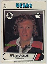 1976 SCANLENS RUGBY LEAGUE CARD #75: MAL McLACHLAN - NORTH SYDNEY BEARS