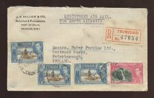 TRINIDAD 1948 REGISTERED AIR ADVERT 4 stamps...SELLIER