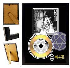 HIM VILLE VALO  - A4 SIGNED FRAMED GOLD VINYL COLLECTORS CD DISPLAY DISC