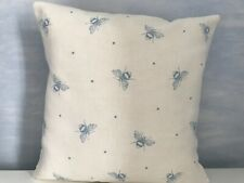 Peony & Sage Cushion Cover Blue  Bees on Ivory Linen Fabric