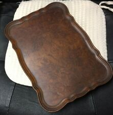 Old wooden burl walnut veneer TRAY  scallop edge 35x25cm  .................../4