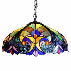 """Tiffany Style Hanging Ceiling Lamp Fixture Blue Stained Glass Shade 18"""" Wide"""