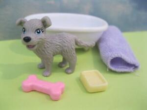 BARBIE Doll Pet Puppy Dog lot Gray Pup Bath time Playset w/Tub Soap Towel Bone