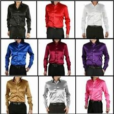 10 Colors New Fashion Mens Formal Casual Shirts Slim Fit Satin Dress Shirts