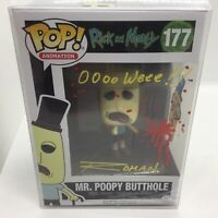 Funko pop Rick & morty Mr. poopy butthole 177 signed drawing David Angelo Roman