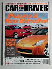CAR & DRIVER MAGAZINE 2002 DECEMBER NISSAN 350 Z AUDI TT MUSTANG S2000