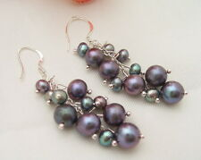 @@~~ Black Round Pearl Earring-925 Silver Hook