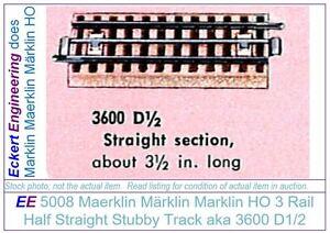 EE 5008 NEW Marklin HO 3R 3 Rail Half Straight Track 3600D1/2 Brass Outer Rails