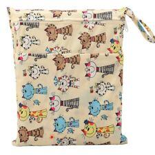 1 Wet Dry Bag Baby Cloth Diaper Nappy Bag Reusable Two Zipper Pocket Cats