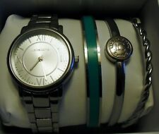 Liz Claiborne LC9000 Silver Tone Watch/ 3-Bangle Bracelet Set MSRP $75