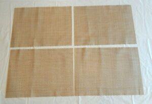 Set of 4 Brown Heat-Resistant Woven Vinyl Placemats Non-Slip Washable Table Mats